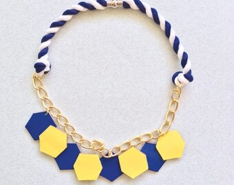 Hexagon Color Block Leather Necklace