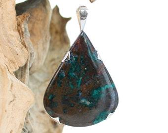 Silver pendant Azurite Dioptase. Natural stone. Gemstone pendant. Azurite Dioptase Necklace. Big gemstone pendant.