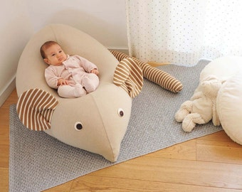 Huge Mouse Beanbag pillow, baby bean bag, kids beanbag pouf, beanbag chair, beanbag sofa,nursery furniture, Mocka & white, Floor pillow