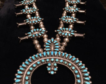 SOLD Vintage Zuni Turquoise Squash Blossom necklace sterling silver 925 old pawn Native American Indian handmade petit point Naja multi