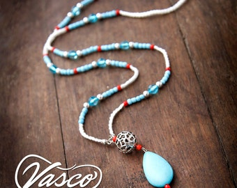 Long boho necklace turquoise white necklace gift Boho pendant Handmade Gift for women Everyday necklace Blue pendant For Wife