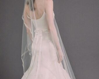 POPPY VEIL | angled drop veil with organza ribbon trim, wedding veil, bridal veil, bridal illusion tulle