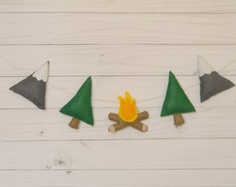 Camping decor garland Camping party decorations Mountains  Pine Trees firewood  Garland garland Nursery decor Wall Decor Adventure Awaits