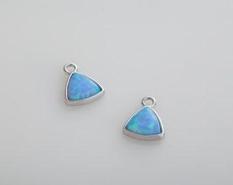Blue Opal Pendant, Triangle opal gemstone, Opal Charm Polished Rhodium plated - 2 Pieces ...