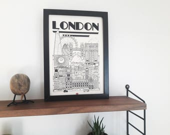 "Illustration London - series ""Travel With Me"". Black and white 