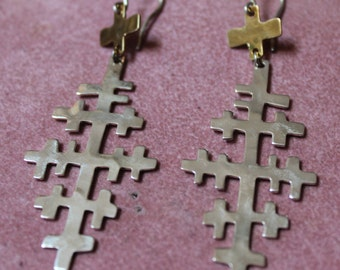 Robert Lee Morris Sterling Silver and Brass Cross Dangle Earrings/RLM Sterling and Brass Cross Earrings/Cross Earrings