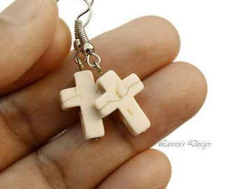 White Cross Earrings with Howlite Beads, Cream Lever Backs, Posts, Hooks or Clip Ons