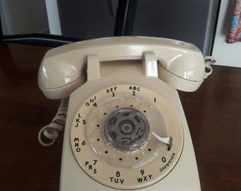 Vintage 1960's Ivory Rotary Telephone by Bell System, Western Electric