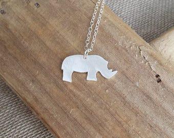 Handmade fine silver Rhino pendant necklace