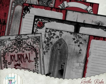 Digital Junk Journal Pages, Printable Gothic Journal, 5 x 7 inch Pages, DIY Journal Kit, Digital Paper  - 'Gothic Ruby'