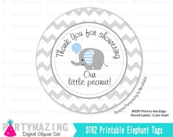 Blue Elephant Little Peanut Tags, Elephant Tags, Printable Stickers, Cupcake Toppers Party Circle Tags, Avery, Instant Download -D762 BBEB1