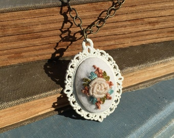 Hand Embroidered Ivory Rose Necklace