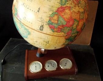 Globe Spot Light Interior - Scan World Globe Denmark 1980- Barometer Hydrometer Thermometer Stand - Office Home Decor Vintage