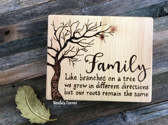 Like Branches On A Tree Quote: Family Sign Family Like Branches On A Tree We All Grow In
