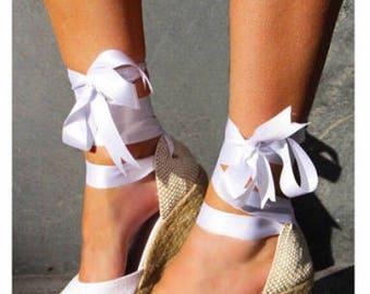 CHLOE Medium Wedge Lace Up Espadrille Wedding Bridal shoes White