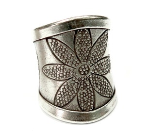 Handmade Sterling Silver Boho Gypsy Flower Wide Band Ring, Sun Solar Tribal Hippie Long cuff Ring, Adjustable, also as Thumb ring
