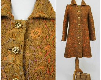 On Sale Vintage 1950's 60's Copper Rainbow Tapestry Thick Warm Chenille Carpet Coat