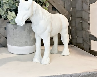 Farmhouse Horse - White Horse Figurine - Cast Iron White Horse - Farmhouse Horse Decor - White Farmhouse Horse - White Horse Decor - Horse