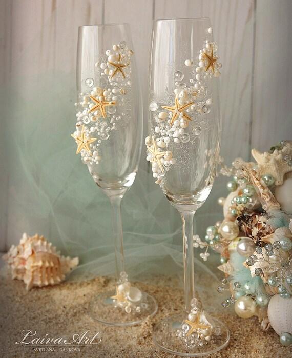 Beach Wedding Champagne Flutes Glasses