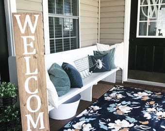 Welcome sign - front porch - porch sign - door decor - rustic sign - farmhouse sign - porch decor - welcome - wood sign