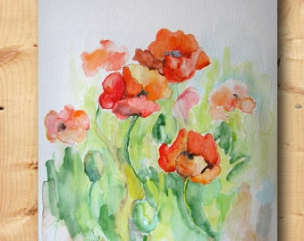 Poppies watercolor original painting Poppy Flower art Floral watercolors Red flowers picture Kitchen wall decor Small paintings