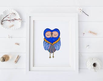 Royal Snoozy Owl, Watercolor Art Prints