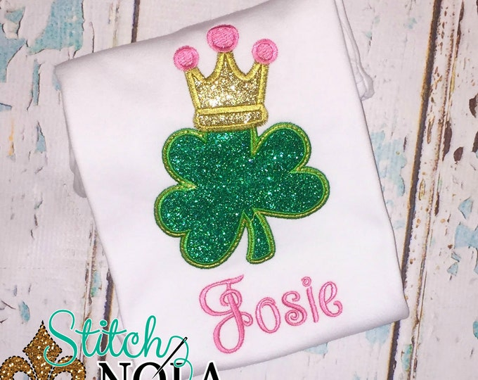Featured listing image: Shamrock with Crown St. Patrick's Day Shirt, Gown or Bodysuit