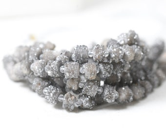 Silver druzy stone beads stunning natural druzy beads top drilled druzy 360 around bead! 6-8mm limited edition druzy beads 6 inch strand