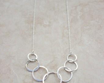 Hammered Loop Link Argentium Silver Necklace