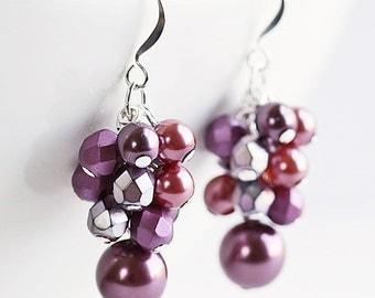 Dark Mauve Earrings, Beaded Bridesmaid Earrings, Silver Plated, Cluster Earrings, Wine Pearl Dangle Earrings, Berry Pink Wedding Jewelry
