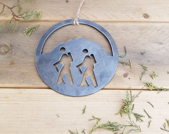 Mountain Hikers Rustic Metal Ornament Hiking Traveler Mountains Are Calling Get Outside Hike More Trails Metal By BE
