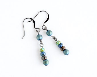 Boho style drop earrings, aqua earrings, Czech glass green earrings, hematite beaded dangle earrings, bohemian earrings, gift for her