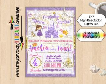 Purple Princess Birthday Invitation, Princess Birthday Party Invitation, Little Girl Birthday Invitation, Purple Princess Party