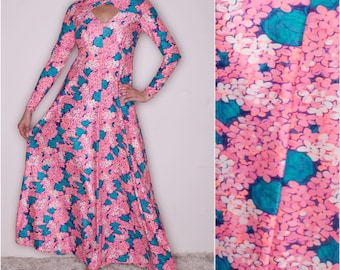 1970's- 60's Robert David Morton Maxi dress//Pink floral dress//Psychedelic print//High fashion// Designer Vintage Dress// Cut out dress