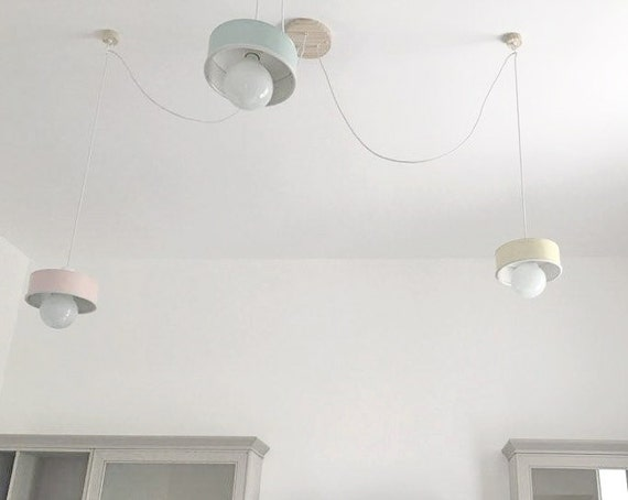 System of 3 Hanging lamps , choose your color in our shop! eco friendly-handmade: recycled from coffee can!LED light bulb included ! US-UK