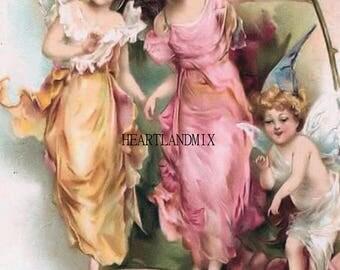 Vintage Victorian Fairies Illustration Vintage Digital Wall Art Download Printable Image