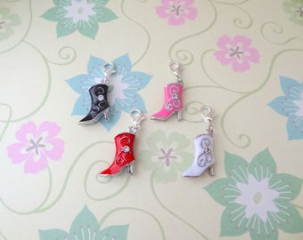 Silver Double Sided Cowboy Boots with Rhinestone Clip On Bracelet Charm/Purse Charm/Zipper Pull in Black, Pink, Red or White - Ready to Ship