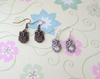 Bronze or Silver Owl Earrings - Ready to Ship