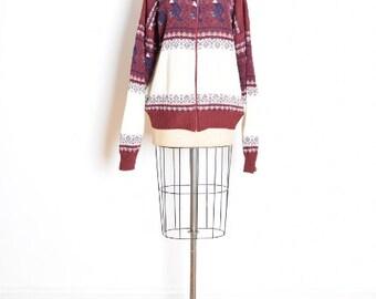 vintage 80s sweater, nordic sweater, nordic cardigan, lebowski sweater, 1980s 80s clothing, burgundy cream, ski sweater, hippie sweater