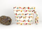 Cat sock knitting bag, cute snaps project bag, small crochet storage bag
