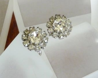 Weiss Clear Rhinestone Earrings, Weiss Rhinestone Earrings, Weiss Round Rhinestone Earrings, Weiss Petite Clear Rhinestone Earrings