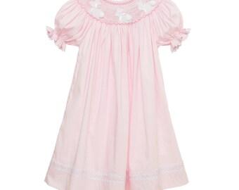 Pink Easter Bunny Smocked Bishop Dress
