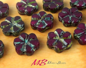 15 Dark Red Picasso Flower Beads, Picasso Finish 10mm Flower