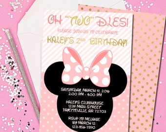 Minnie Mouse Invitation, Minnie Mouse Birthday Invitation, Birthday Invitation, Pink and Gold, Minnie, Disney, Printable 5x7