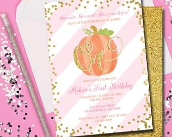 First Birthday Invitation, Pumpkin Birthday Invitation, 1st Birthday, Invitation, Pink and Gold, Fall Birthday, Little Pumpkin, Printable
