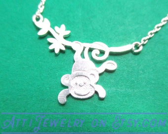 Adorable Monkey Hanging from a Tree Shaped Charm Necklace in Silver | Handmade Animal Jewelry