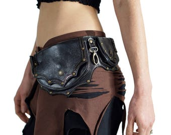 GRANDE BLACK - Handmade Leather Utility Belt With Pockets Renaissance Hip Pouch Belt Festival Burning Man Belt Steampunk Belt