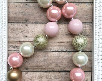 Girls Bubblegum Necklace, Pink Gold Necklace, Chunky Bead Necklace, Toddler Jewelry, Baby Chunky Necklace, Girl Photo Prop, Cake Smash Prop