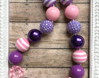 Purple Pink Chunky Bead Necklace - Pink Stripe Girls Necklace - Light Purple Bubblegum Bead Necklace - Girls Chunky Necklace - Girls Jewelry