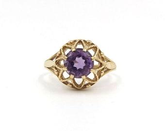 9ct Gold Amethyst Ring | 9k Purple Gem Ring | UK size O 1/2 - US size 7 1/2